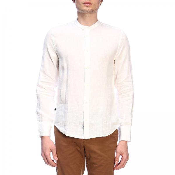 Camicia Blauer basic in lino con collo alla coreana