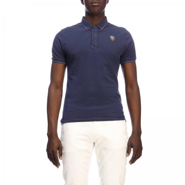 Polo Blauer a maniche corte con bordi a contrasto e mini logo