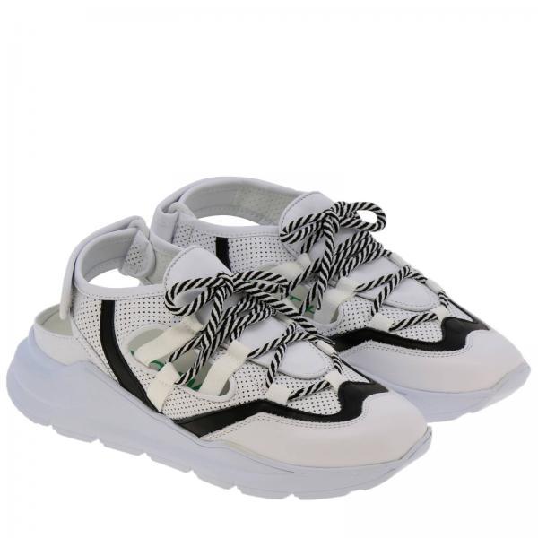 Blanco Mujer opengiglio Primavera Wrng Zapatillas Leather Crown 2019 verano tSPgT