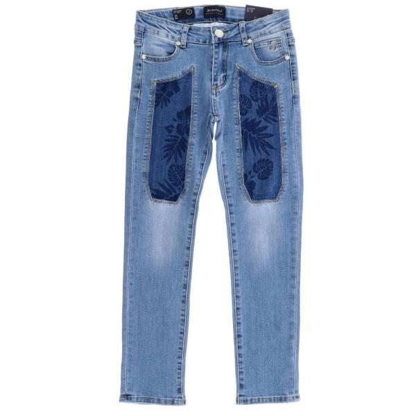 Jeans J1047 Jeckerson slim a 5 tasche in denim stretch used con toppe a fantasia