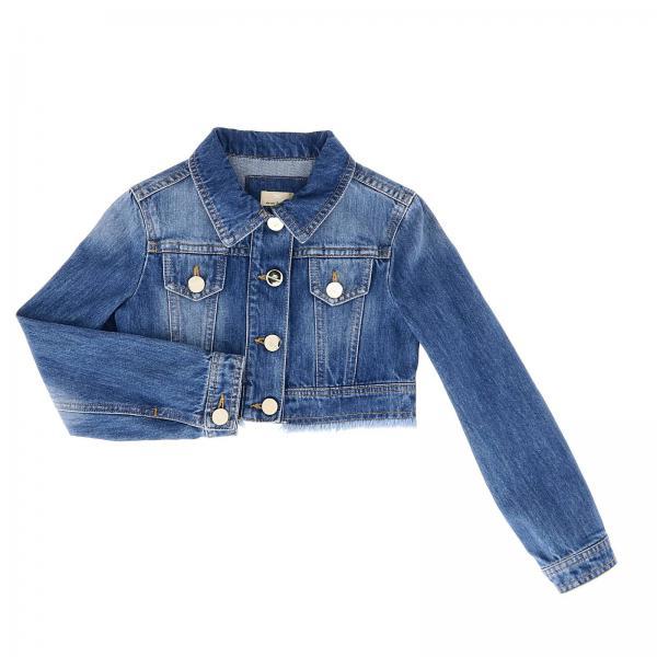 Giacca di jeans elisabetta franchi corta in denim used con bordi sfrangiati