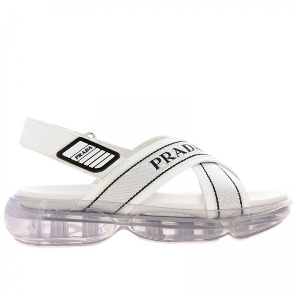 Sandalo Cloudbust Prada in tela con logo e fibbia a strappo