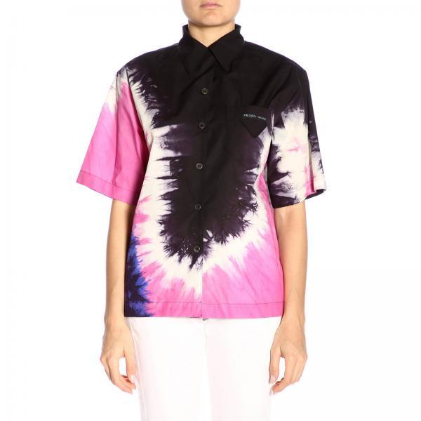 Camicia bowling Prada con stampa tie dye