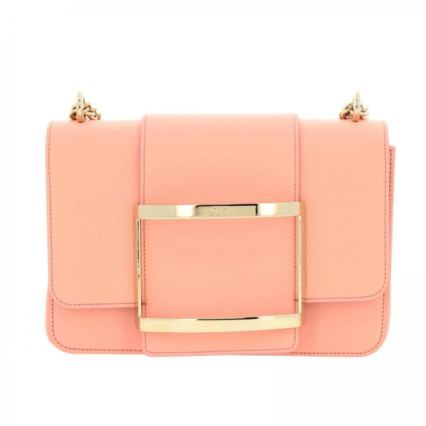 Borsa Très Roger Vivier small in pelle liscia con big Metal Buckle
