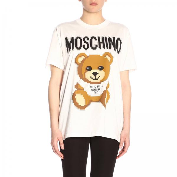 T-shirt Moschino Capsule Collection Pixel in puro cotone con stampa Teddy