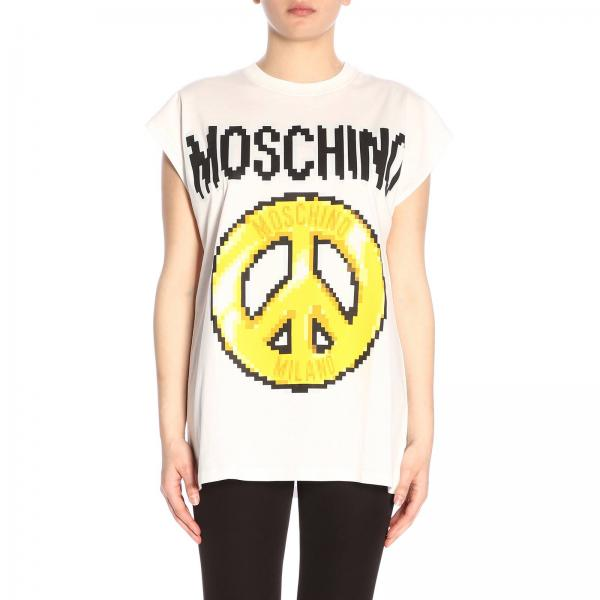 T-shirt Moschino Capsule Collection Pixel in puro cotone con stampa logo