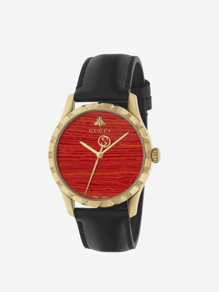 Orologio Gucci con cinturino in pelle e cassa in metallo