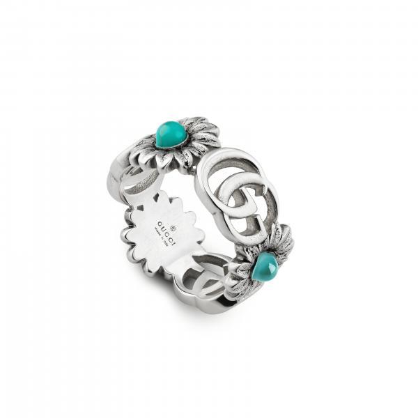 Anello Monogramma GG Gucci in metallo con pietre preziose