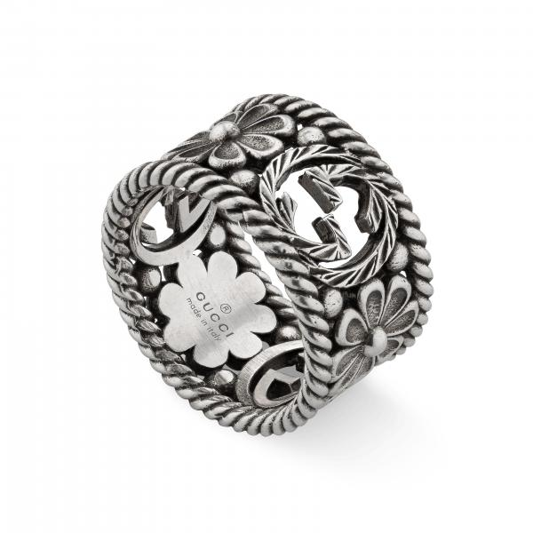 Anello interlckg ring l flowers slv