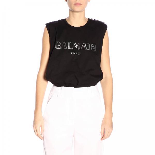 T-shirt a girocollo senza maniche con maxi stampa Balmain Paris e bottoni