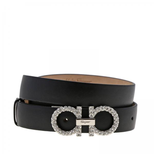 Adjustable Mediterranean Double Hook Belt In Genuine Leather With Rhinestones by Salvatore Ferragamo