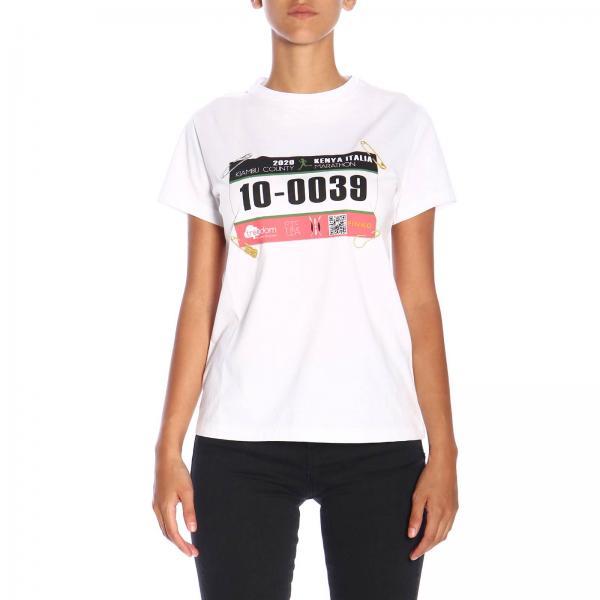 T-shirt Incarnata Pinko Treedom a maniche corte con maxi stampa in cotone organico