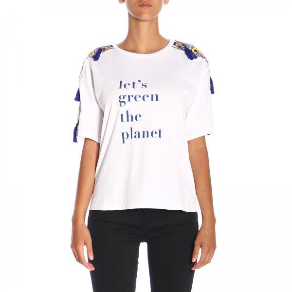 T-shirt Granadilla Pinko Treedom a maniche corte con maxi stampa in cotone organico