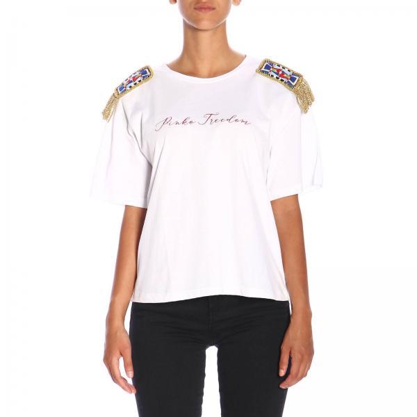 T-shirt Pecan Pinko Treedom a maniche corte con maxi stampa in cotone organico