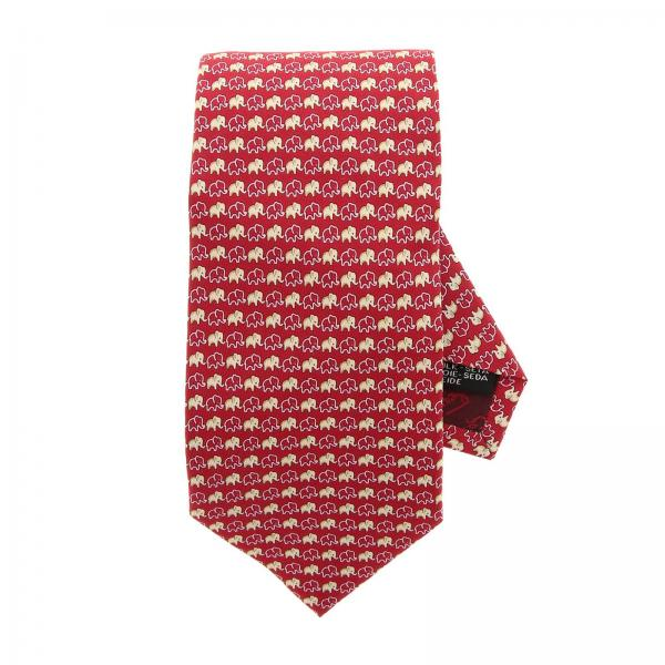 Pure silk tie 8 cm with all over elephant pattern