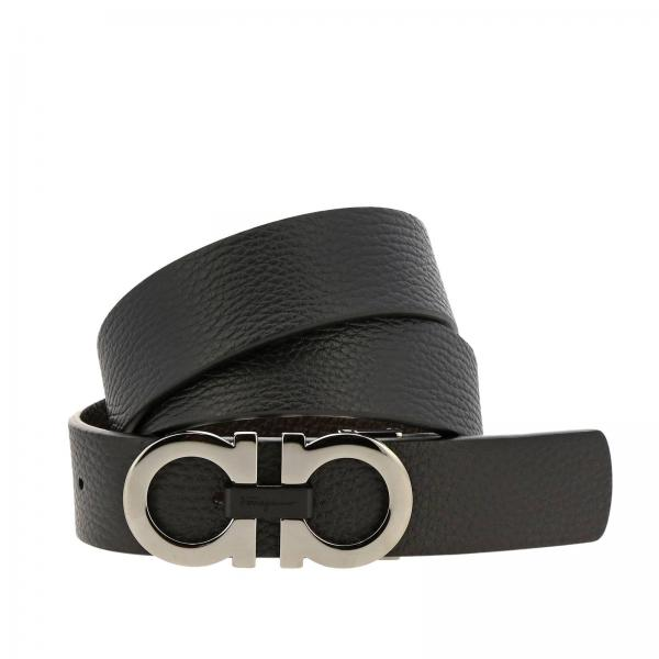 Adjustable and reversible Mediterranean Double Hook genuine hammered leather Belt