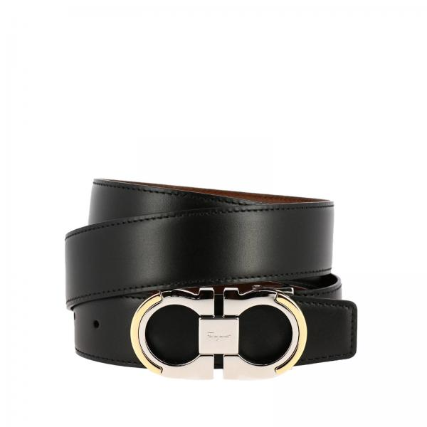 Adjustable and reversible Gancini belt in genuine smooth leather