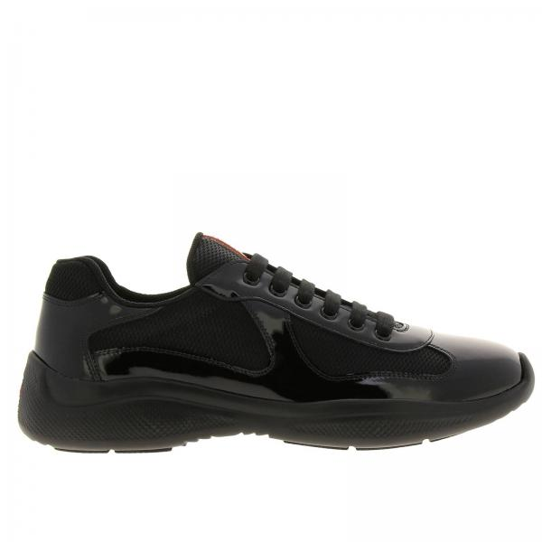 America's cup Prada lace-up patent leather and technical mesh Sneakers with rubber sole