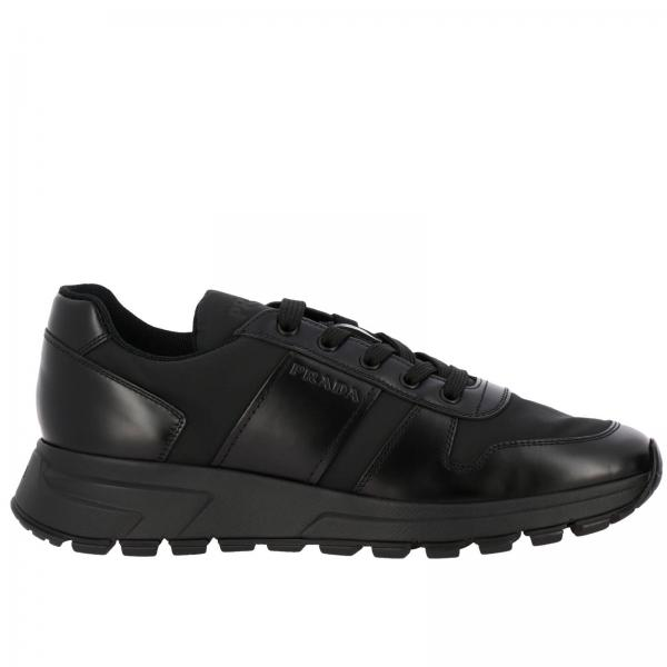 Prax 01 Prada nylon and leather sneakers with embossed logo