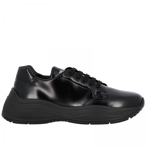 Sneakers Barca xl Prada in pelle spazzolata con suola in gomma