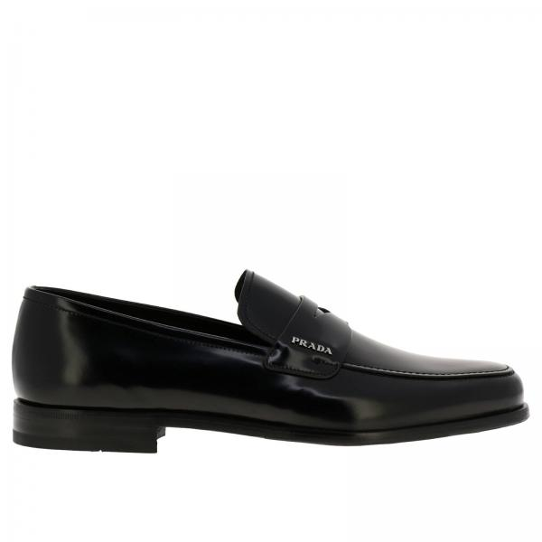 Prada loafers in real brushed leather with classic crossbar