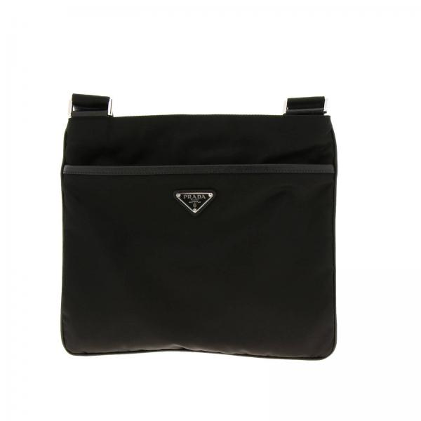 Flat shoulder bag in nylon with Prada triangular logo