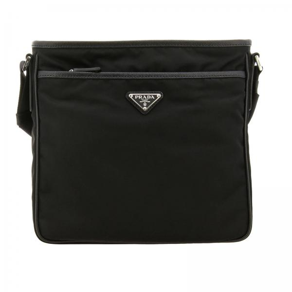 Shoulder bag in nylon with Prada triangular logo