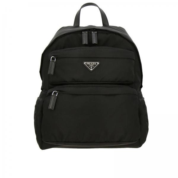 Nylonrucksack mit durchgehendem Reißverschluss, dreieckigem Prada-Logo und mehreren Taschen