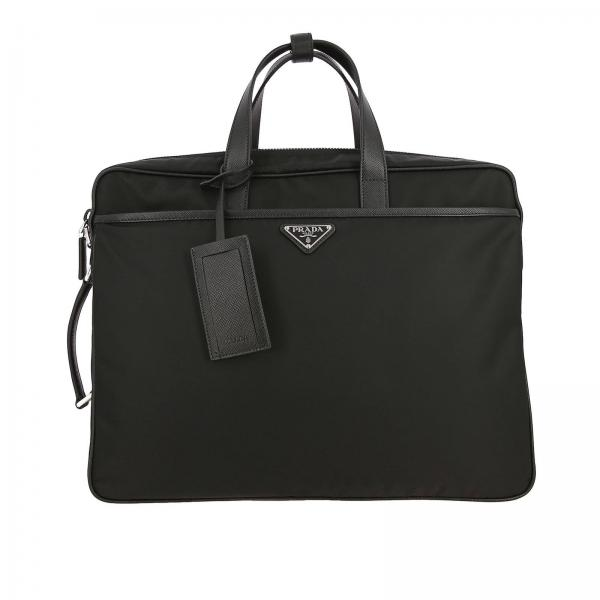 Full zip nylon and saffiano leather work bag with Prada triangular logo