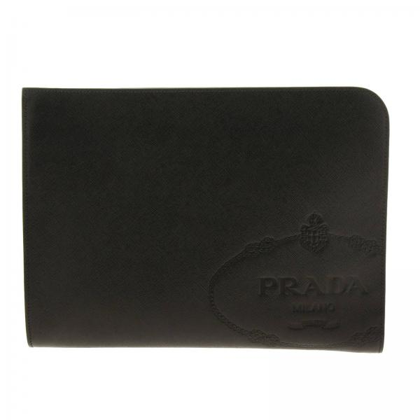 Prada maxi pochette in saffiano leather with embossed Cartiglio logo