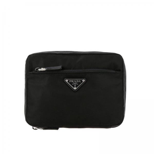 Prada Medium Beauty Case aus Nylon mit dreieckigem Logo
