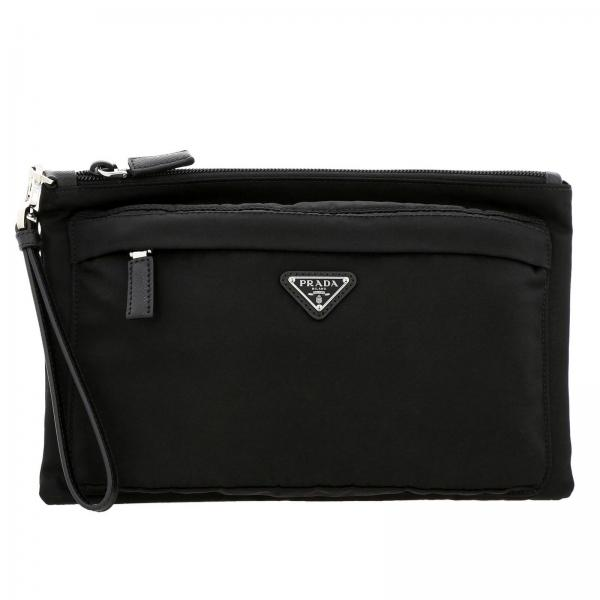 Prada clutch bag in nylon with triangular logo