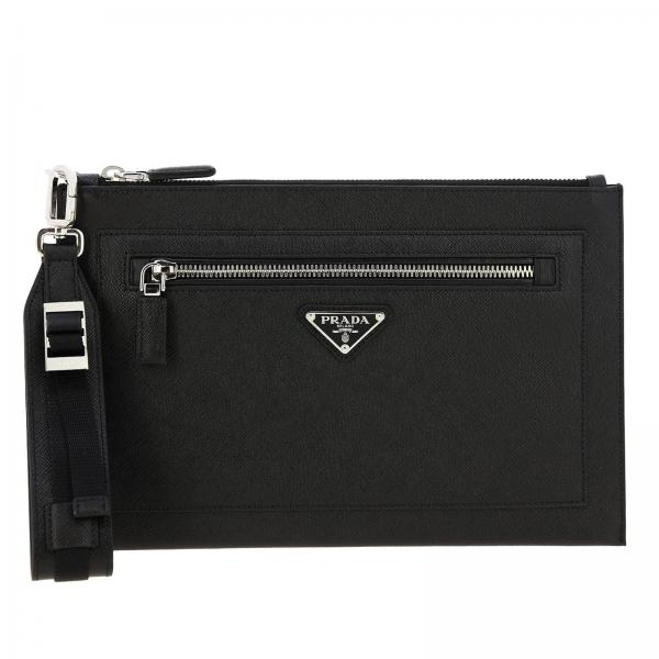 Prada clutch bag in saffiano leather full zip with logo