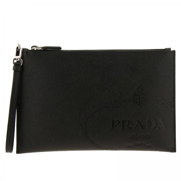 Prada clutch in saffiano leather with embossed Cartiglio logo