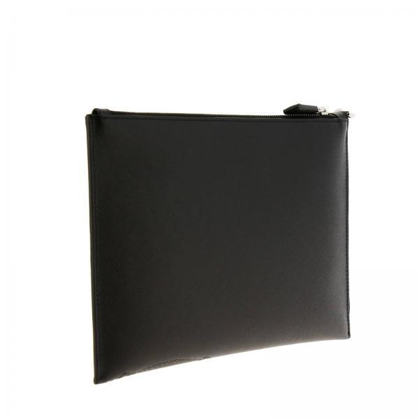 2nh005 Saffiano Prada Uomo NeroPochette 2mb8 In Portadocumenti Impresso Con Logo Cartiglio Pelle nw0ZPkXON8