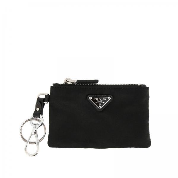 Mini porte-clés pochette avec fermeture éclair en nylon avec logo Prada triangulaire