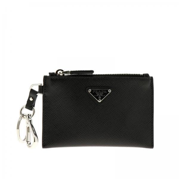 Mini porte-clé pochette fermeture éclair en cuir saffiano avec logo Prada triangulaire