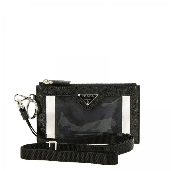 Clutch bag in PVC and leather with Prada triangular logo and credit card holder