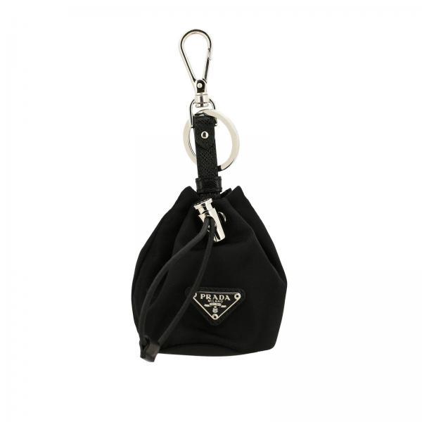 Porte-clés seau Prada en micro nylon avec logo triangulaire