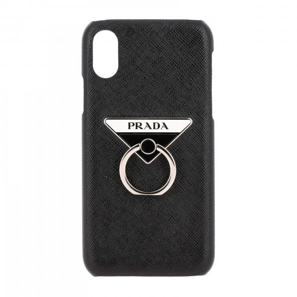 Cover Prada Iphone XS in pelle saffiano con logo triangolare