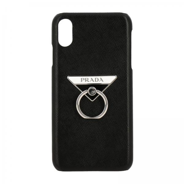Cover Prada Iphone XS Max in pelle saffiano con logo triangolare