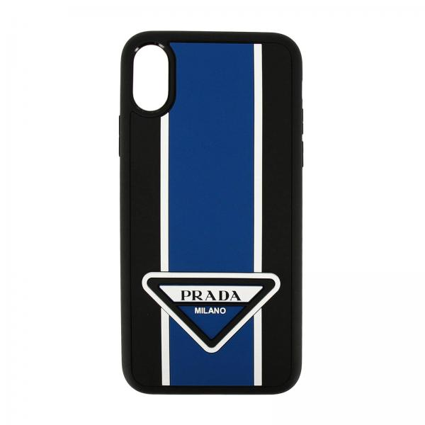 Cover Prada Iphone XS in gomma con logo triangolare