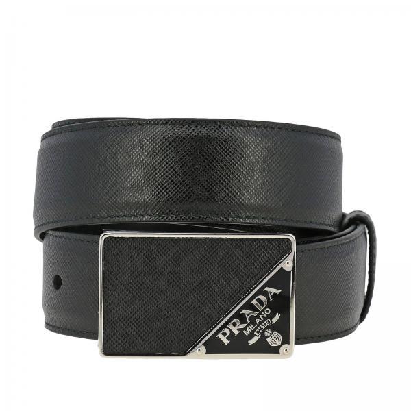Cintura Plaque triangle Prada in pelle saffiano