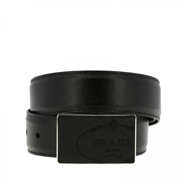 Cintura classic in pelle saffiano con fibbia squadrata e logo Prada