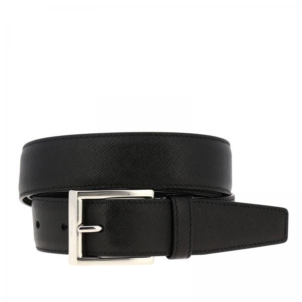 Cintura Prada in pelle saffiano con fibbia metallica