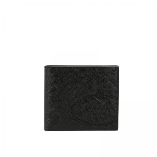Prada saffiano真皮logo印花钱包