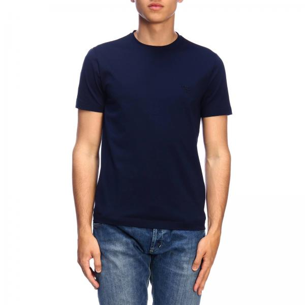 T-shirt a maniche corte in cotone stretch basic con mini logo Prada