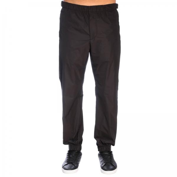 Prada travel techno poplin trousers with rubber strap buckle