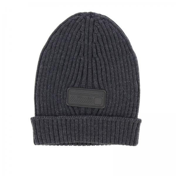 Hat in ribbed wool with rubber logo by Prada