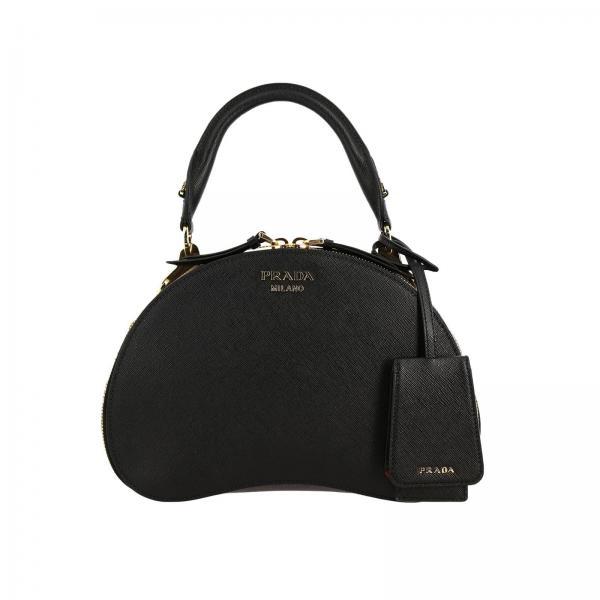 Prada women: Sidonie Prada bag in saffiano leather with metal logo and handle